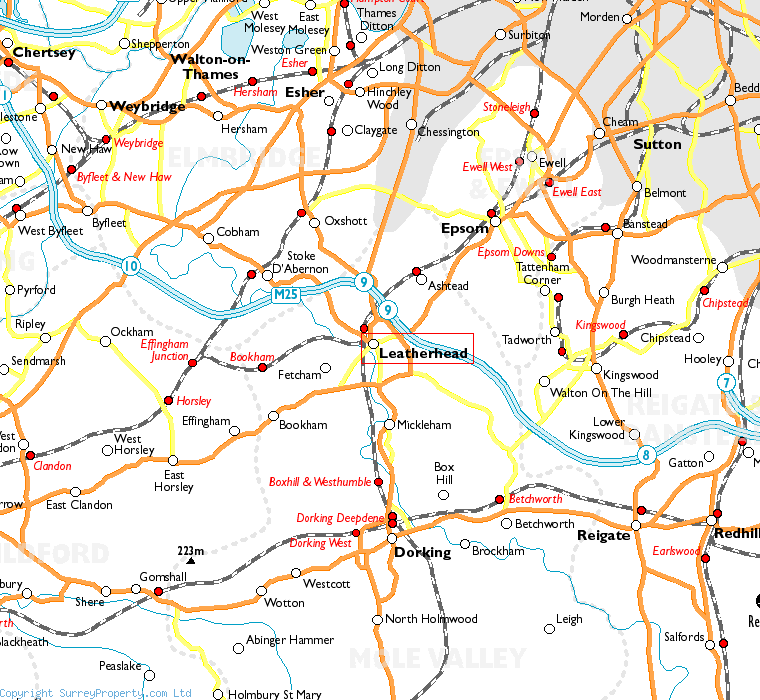 Leatherhead in relation to neighbouring towns