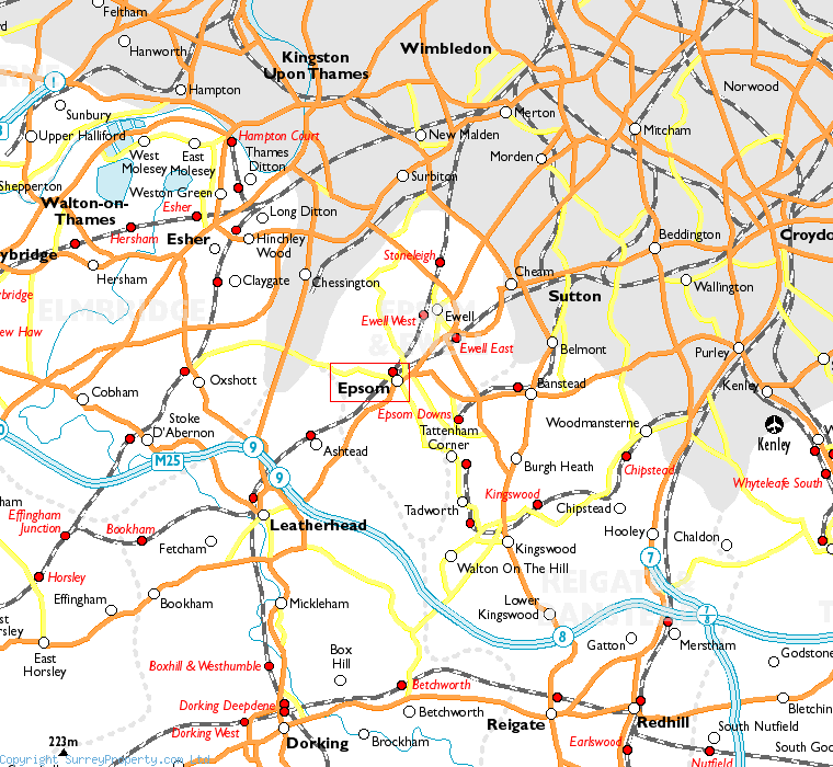 Epsom in relation to neighbouring towns