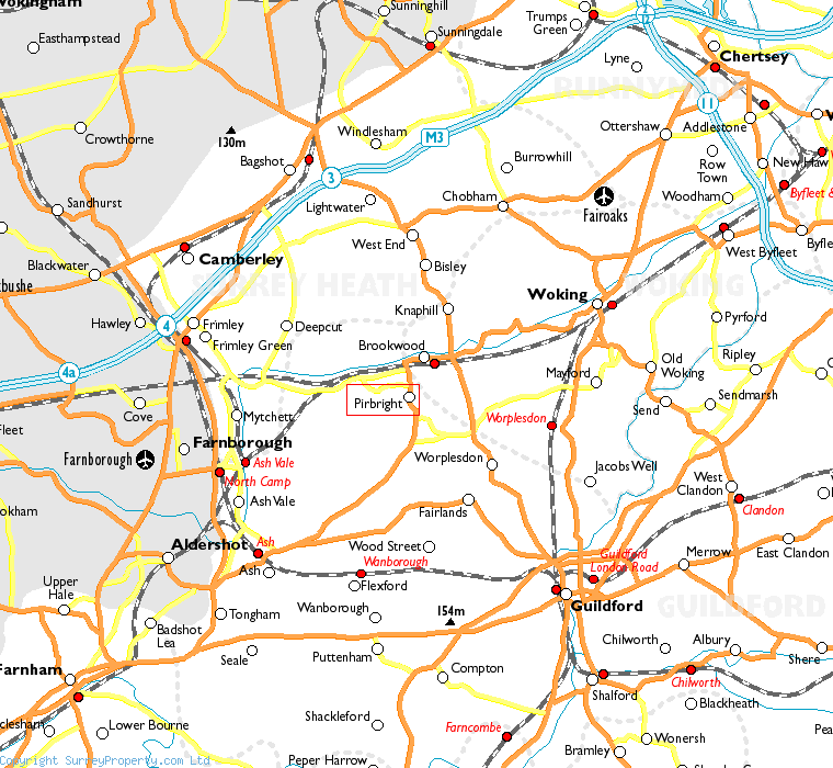 Pirbright in relation to neighbouring towns