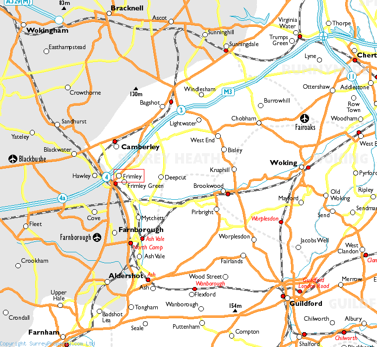 Frimley in relation to neighbouring towns