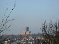 View to cathedral from castle, Guildford