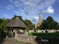 St James' church and Lutyens' lych gate, Shere