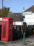 Sign and telephone box, Windlesham