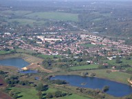 Aerial photograph of View looking NW over Merstham and the M25