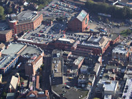 Aerial photograph of The Harlequin theatre and cinema, Redhill