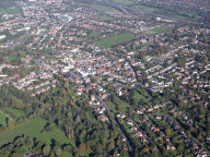 Aerial photograph of Leatherhead town centre from the south