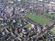Aerial photograph of Leatherhead town centre and sports pitches