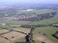 Aerial photograph of View over Epsom Downs