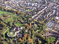 Aerial photograph of Farnham castle and Castle Street