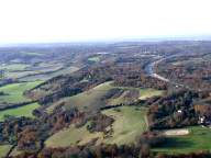 Aerial photograph of M25 and North Downs north of Reigate