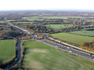 Aerial photograph of M25 junction north of Reigate