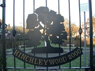 Sign on gate to green, Hinchley Wood
