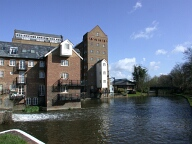 Former mill buildings at Coxes lock, Addlestone