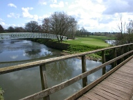 Footpath bridge over river Wey, Pyrford