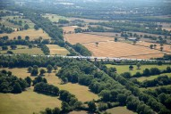 Aerial photograph of M23 crossing Redhill to Tonbridge railway line