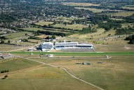 Aerial photograph of Epsom Downs racecourse