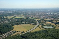 Aerial photograph of Claygate, the A3 and Chessington