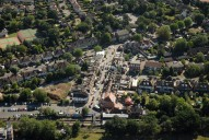 Aerial photograph of Claygate railway station and shops
