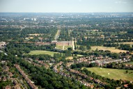 Aerial photograph of Hampton Court Palace and the view to Wembley Stadium