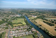Aerial photograph of Thames Ditton, East Molesey and Hampton Court Palace