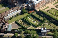 Aerial photograph of Gardens at Hampton Court Palace