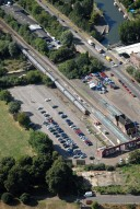 Aerial photograph of Hampton Court train station, East Molesey