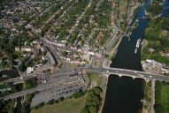 Aerial photograph of East Molesey and the Thames