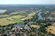 Aerial photograph of The Thames at Sunbury
