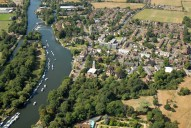 Aerial photograph of View south-west over Sunbury and the Thames