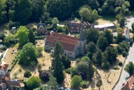Aerial photograph of Church in Cobham