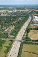 Aerial photograph of M25 and Wey Navigation near West Byfleet