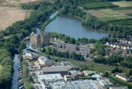 Aerial photograph of Coxes Lock mill and millpond