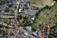 Aerial photograph of St James Church, Weybridge