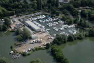 Aerial photograph of Marina on Thames near Shepperton