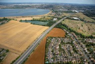 Aerial photograph of M3 and reservoir near Shepperton