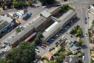 Aerial photograph of Shepperton train station