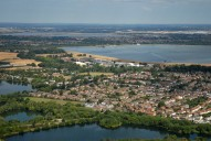 Aerial photograph of Reservoirs and outskirts of Shepperton