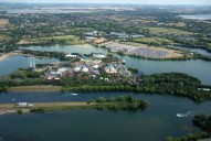 Aerial photograph of Thorpe Park and lakes