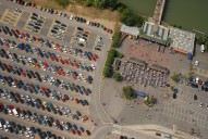 Aerial photograph of Thorpe Park entrance