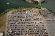 Aerial photograph of Thorpe Park car park