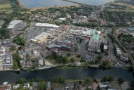 Aerial photograph of Staines and the River Thames