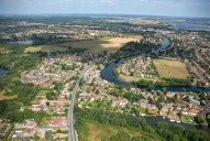 Aerial photograph of Outskirts of Staines and the River Thames