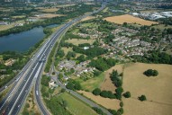 Aerial photograph of M25 and Thorpe