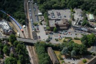 Aerial photograph of Virginia Water train station and shops