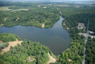 Aerial photograph of Virginia Water lake and the A30