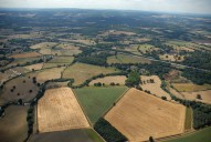 Aerial photograph of Fields and the River Mole south-west of Cobham