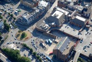 Aerial photograph of Redhill town centre near railway station