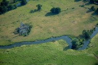 Aerial photograph of Newark Priory and the River Wey