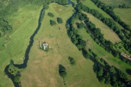 Aerial photograph of River Wey, Newark Priory and Wey Navigation