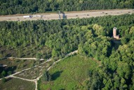 Aerial photograph of M25 and Chatley Heath semaphore tower
